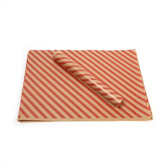 Kırmızı Çizgi Baskılı 40Gr İthal Şamua Kraft Ambalaj Kağıdı 70x100CM
