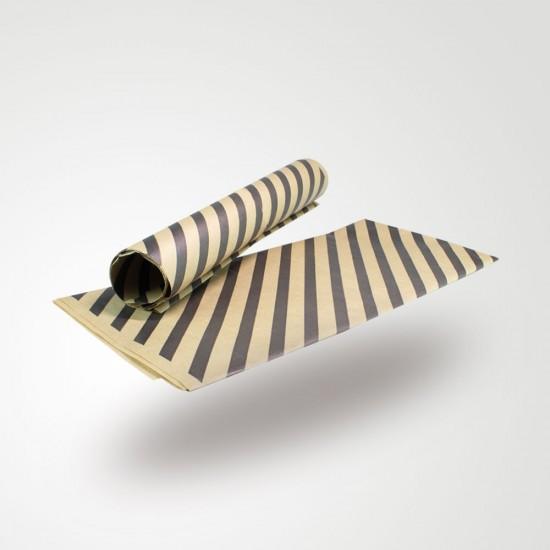 Siyah Çizgi Baskılı 40Gr İthal Şamua Kraft Ambalaj Kağıdı 70x100CM