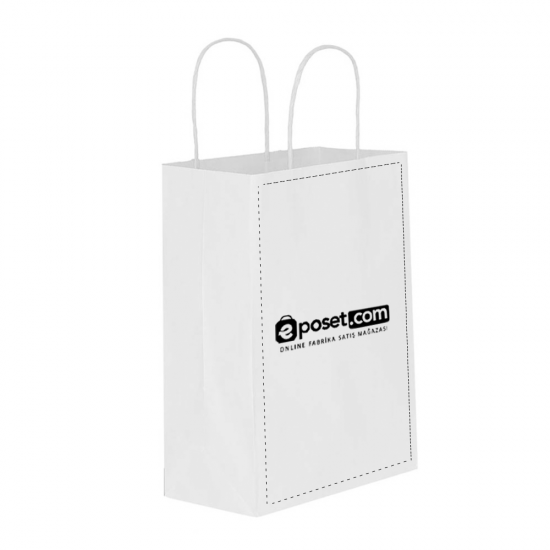 Baskılı Beyaz Kağıt Çanta / Kraft Poşet 31x12x41