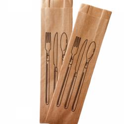 Çatal Kaşık Baskılı Çizgili Şamua Kese Kağıdı 7x28 cm