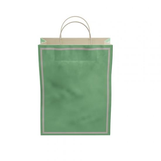 Makaron Yeşil Kağıt Hediye ve Alışveriş Çantası (25x12x31) 25 Adet