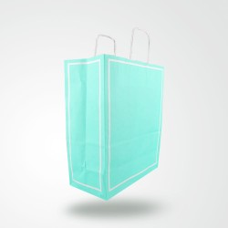 Makaron Mavi Kağıt Hediye ve Alışveriş Çantası (25x12x31) 25 Adet