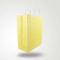 Makaron Sarı Kağıt Hediye ve Alışveriş Çantası (25x12x31) 25 Adet
