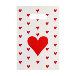 Kalp Baskılı El Geçmeli Hediye Poşeti (18x25) 100 Adet