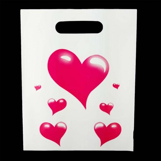 Kalp Baskılı Hediye Poşeti (20x25) 100 Adet