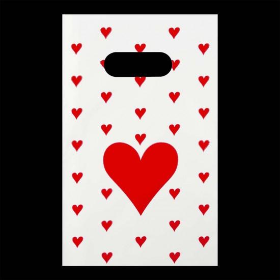 Kalp Baskılı Hediye Poşeti (13x20) 100 Adet