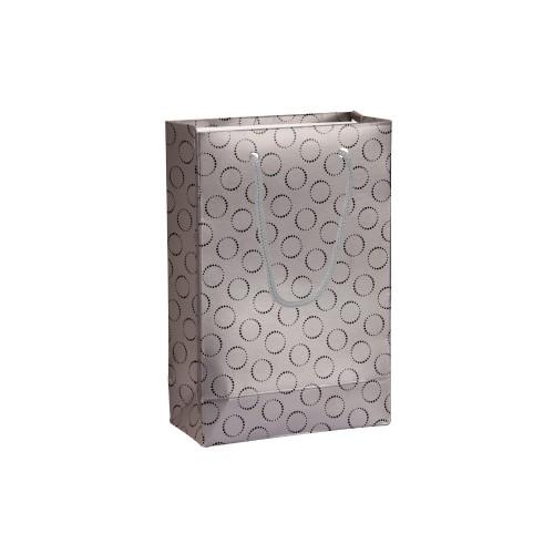 İpli Baskılı Karton Çanta GÜMÜŞ (11x16,5) cm. 25 Adet