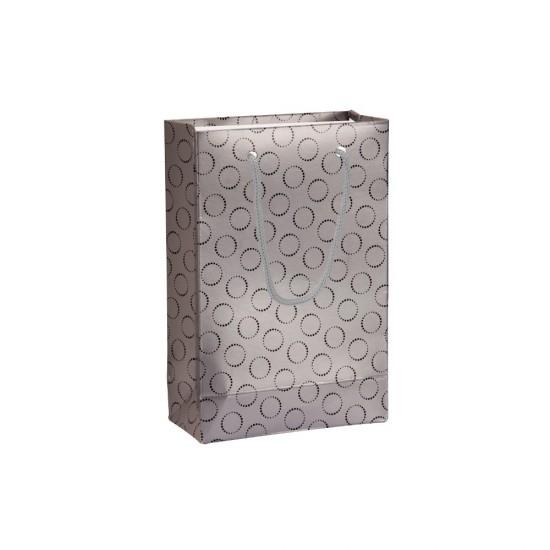 Baskılı Gümüş Karton Hediye ve Alışveriş Çantası (11x16) 25 Adet