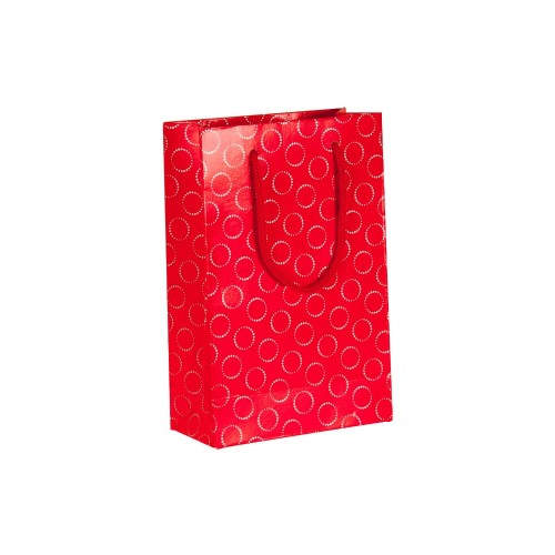 İpli Baskılı Karton Çanta KIRMIZI (11x16,5) cm. 25 Adet