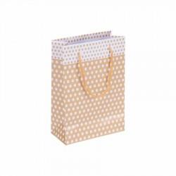 Puantiyeli Altın Karton Hediye ve Parti Çantası (14x17) 25 Adet