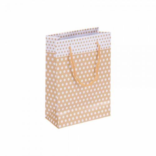 Puantiyeli Altın Karton Çanta (14x17) cm. 25 Adet