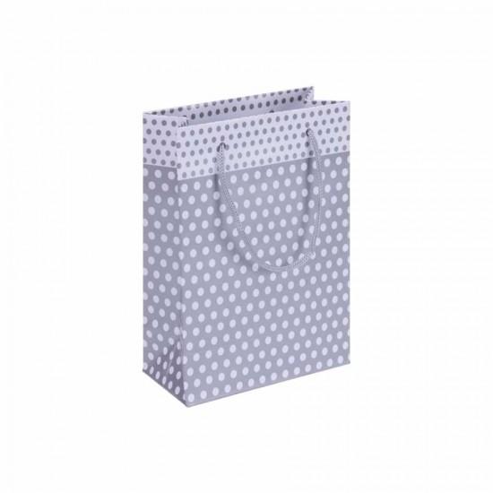 Puantiyeli Gümüş Karton Hediye ve Parti Çantası (14x17) 25 Adet