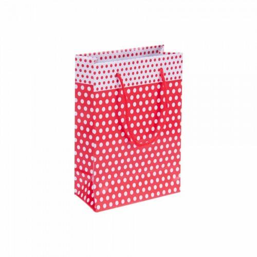 Puantiyeli Kırmızı Karton Çanta (14x17) cm. 25 Adet