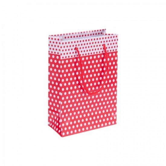 Puantiyeli Kırmızı Karton Hediye ve Parti Çantası (14x17) 25 Adet