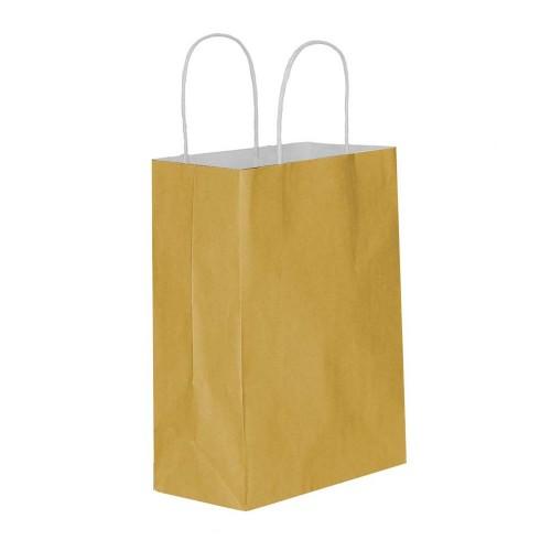 Altın Kağıt Hediye ve Alışveriş Çantası (15x8x20) 25 Adet
