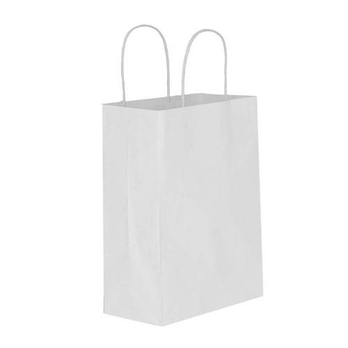 Beyaz Kağıt Hediye ve Alışveriş Çantası (15x8x20) 25 Adet