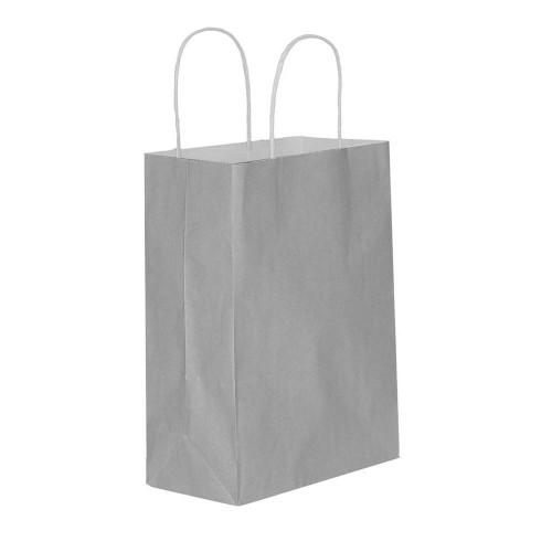 Gümüş Kağıt Hediye ve Alışveriş Çantası (15x8x20) 25 Adet