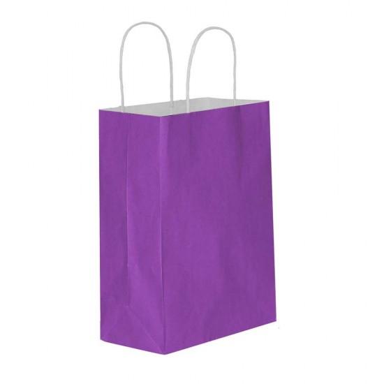 Mor Kağıt Hediye ve Alışveriş Çantası (18x8x24) 25 Adet