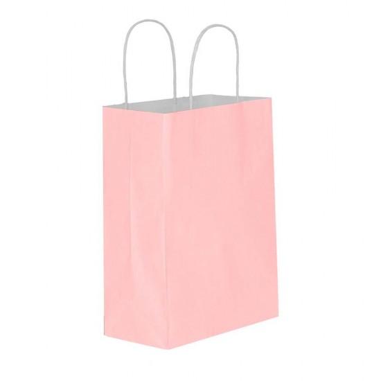 Pembe Kağıt Hediye ve Alışveriş Çantası (18x8x24) 25 Adet