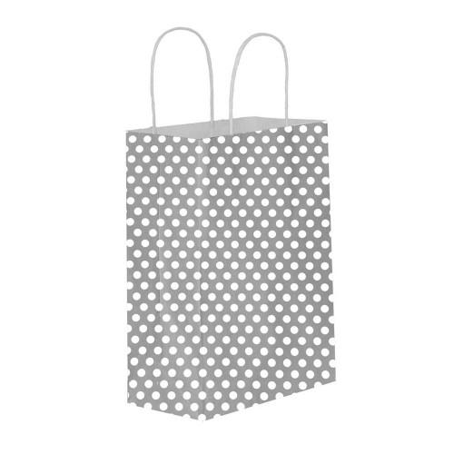 Puantiyeli Gümüş Kağıt Hediye ve Alışveriş Çantası (18x8x24) 25 Adet