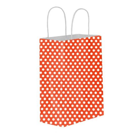 Puantiyeli Kırmızı Kağıt Hediye ve Alışveriş Çantası (15x8x20) 25 Adet