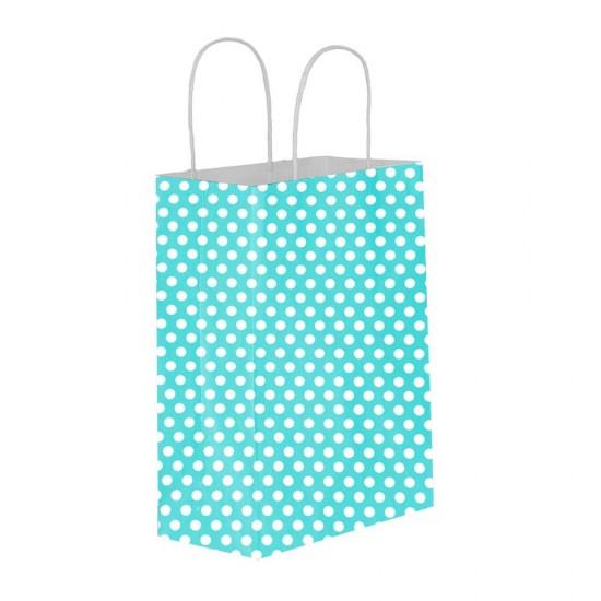 Puantiyeli Mavi Kağıt Hediye ve Alışveriş Çantası (31x12x41) 25 Adet