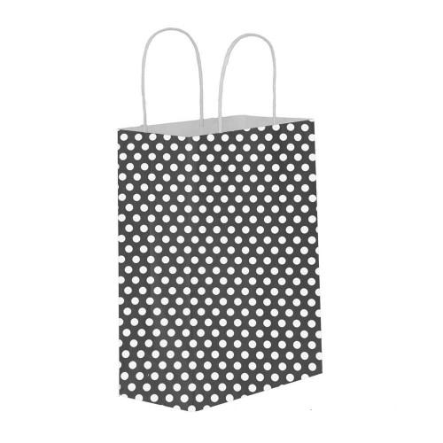 Puantiyeli Siyah Kağıt Hediye ve Alışveriş Çantası (18x8x24) 25 Adet