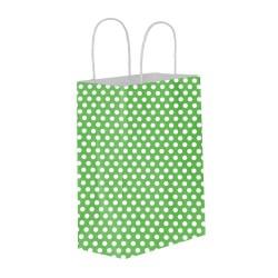 Puantiyeli Yeşil Kağıt Hediye ve Alışveriş Çantası (15x8x20) 25 Adet